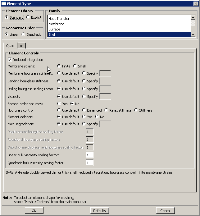 Figure 17–21 The Element Type dialog box for a two-dimensional region.